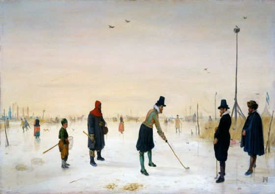 Avercamp, Hendrick: Kolf Players on the Ice. Winter Landscape Fine Art Print/Poster. Sizes: A4/A3/A2/A1 (00433)